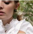 Boucle d'oreille resine /tissu/laiton