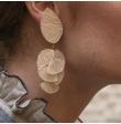Boucle d'oreille resine/nacré doré